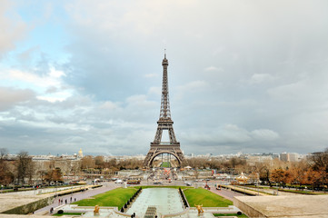 Eiffel tower scenic view in a cloudy day, Paris, France