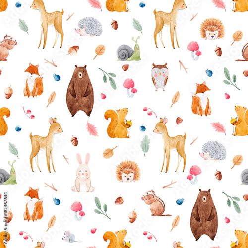 Fototapete Watercolor baby pattern