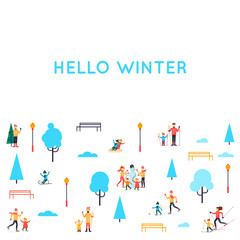 Winter people in the park. Season outdoors leisure activities. Playing in snow. Flat design vector illustration.