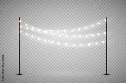 Christmas Lights Isolated On Transparent Background Set Of Golden