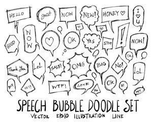 Set of Bubble speech talk illustration Hand drawn doodle Sketch line vector eps10