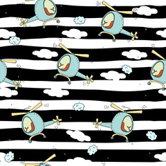 Cute seamless pattern with helicopter cartoon hand drawn vector illustration