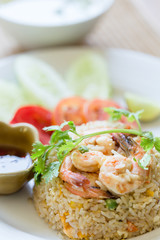 Fried Rice Shrimp is placed on a plate, Appetizing. Famous Thai food menu..
