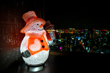 Snow man Lamp decoration in holiday.