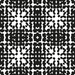 Black and White  Hand Drawn Seamless Ethnic Pattern
