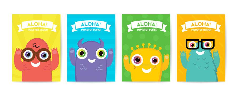 Cute Monster cover design set.