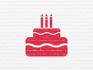 Entertainment, concept: Painted red Cake icon on White Brick wall background