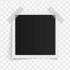 Wall Mural - Square photo frame template with shadows on sticky tape on a transparent background. Vector illustration.