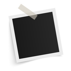 Square photo frame template with shadows on sticky tape on white background. Vector illustration.