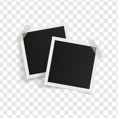 Square photo frames on sticky tape on a transparent background. Vector illustration.