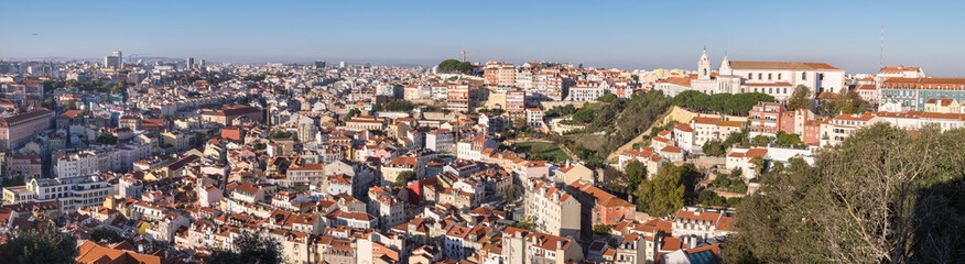 Beautiful large panoramic aerial view of Lisbon red roofs. Portugal
