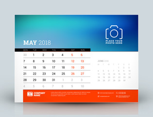 Vector calendar design template. May 2018. Place for photo. Red and black colors. Two months on the page. Week starts on Monday