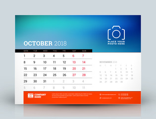 Vector calendar design template. October 2018. Place for photo. Red and black colors. Two months on the page. Week starts on Monday