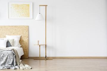 Wooden lamp in warm bedroom