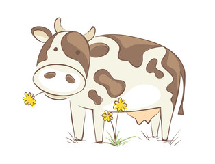 Cow with dandelion / Funny vector illustration, cheerful cow chews a flower