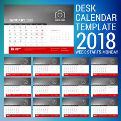 Vector 2018 calendar design template. Place for photo. Red and black colors. Two months on the page. Week starts on Monday