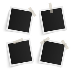 Set of square vector photo frames on sticky tape on white background. Template photo design. Vector illustration