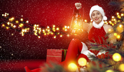 woman and christmas time