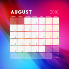 August 2018. Calendar planner design template with abstract background. Week starts on Monday