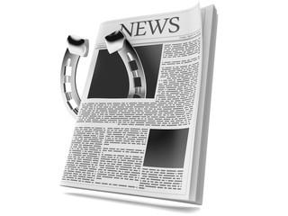 Horseshoe inside newspaper