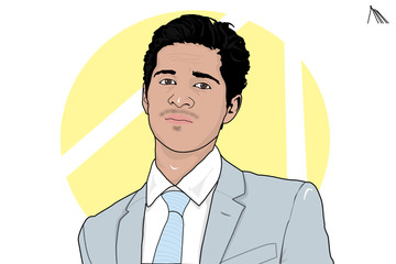 Young arab businessman wearing  gray suit and light blue tie with yellow background cartoon illustration