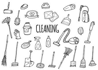 掃除道具のイラストセット