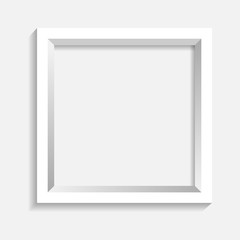 White picture frame on white bacground vector illustration