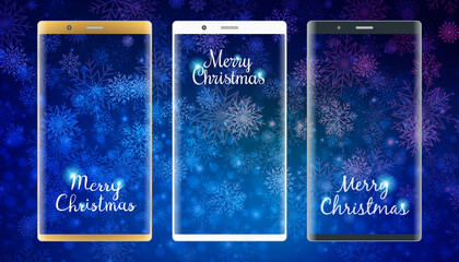 Golden, white and black smartphones with christmas background. Winter wallpaper. Vector illustration