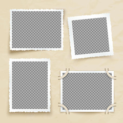 Old victorian image frames. Vintage photo borders vector set