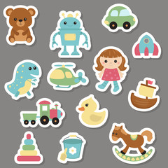 Collection of toys icons