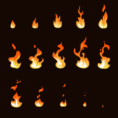 Cartoon fire flame sheet sprite animation vector set