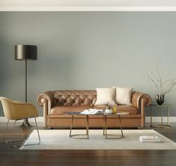 Classic elegant luxury cognac leather sofa