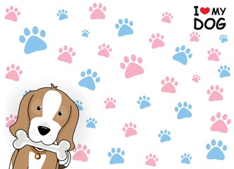 "Cartoon dog ""I love my dog"" Vector illustration."