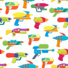 Cartoon Toy Water Guns Background Pattern. Vector