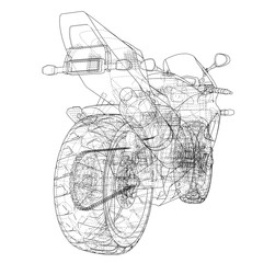 Sport Motorbike technical wire-frame. Vector rendering of 3d.