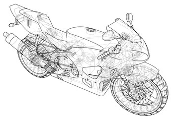 Sport motorcycle technical wire-frame. Vector illustration. Tracing illustration of 3d.