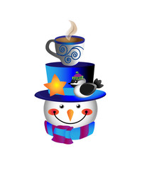 Snowman, bird, cup of hot chocolate