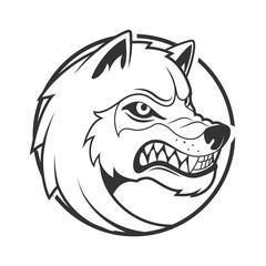 Wolf emblem minimalistic vector illustration