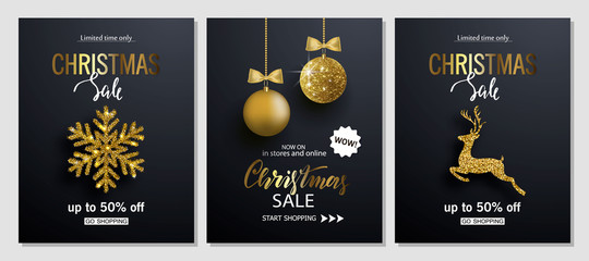 Christmas Sale posters with shiny snowflake,Christmas ball and Golden deer. Vector illustration. Design for invitation, banners, ads, coupons, promotional material