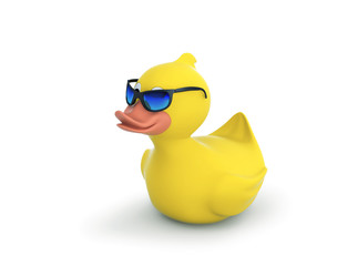 Rubber duck in sunglasses with clipping path