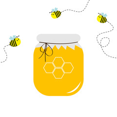 Honey jar pot icon. Honeycomb logo. Beehive element. Flying bee insect dash line set. Paper top and bow. Yellow healthy food. Isolated. White background. Flat design.