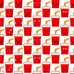 Seamless background with Soda emotions. Cute cartoon. Vector illustration. Textile rapport.