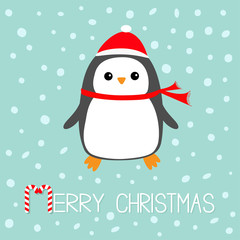 Merry Christmas Candy cane text. Kawaii Penguin bird. Red Santa Claus hat, scarf. Cute cartoon baby character. Flat design Winter antarctica blue background with snow flake. Greeting card.