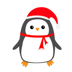 Penguin bird on snowdrift. Red Santa Claus hat, scarf. Cute cartoon kawaii baby character. Merry Christmas. Flat design. Hello winter. White background. Isolated.