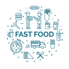 lettering of fast food concept with line icons set.