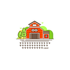 Farm barn line icon with germinating field with sprouts vector illustration isolated on white background. Eco farming icon, logo in flat design, farm concept with a house and landscape, linear style