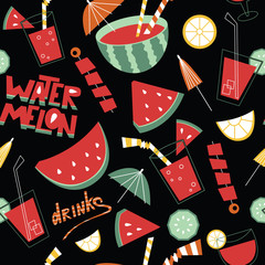 Background with fruits, drinks and lettering.