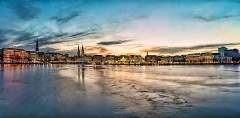 Hamburg cityscape with Alster Lake at sunset panorama