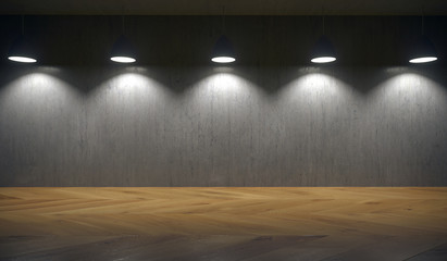 3D Rendering Of Lights Hanging In Front Of Concrete Wall And Lighting Down With Empty Space For Text