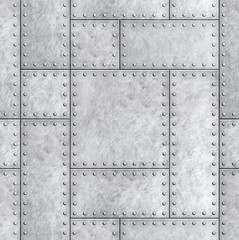Wall Mural - armoured metal plates with rivets background or texture 3d illustration